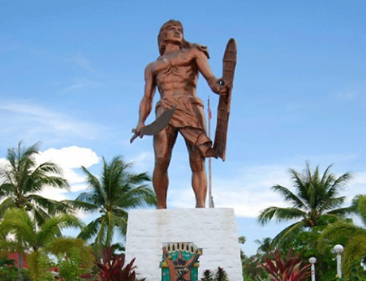 "a 20-meter bronze statue of Lapu-Lapu, equipped with his ""kampilan"" (sword) and ""kalasag"" (shield)"