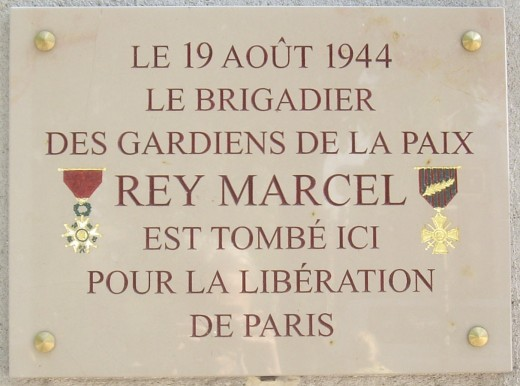Commemorative plaque, the square at Notre Dame Cathedral, Paris, for Brigadier Rey Marcel, killed August 19, 1944
