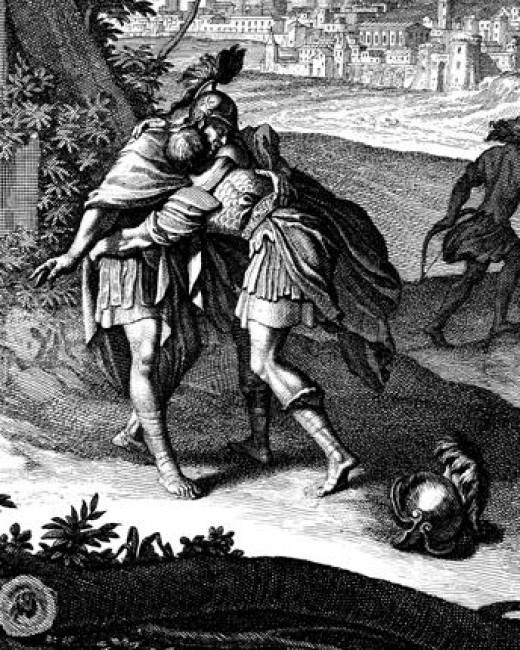 David embraces Jonathan