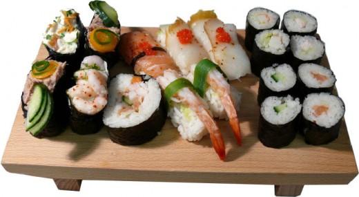 Variety of sushi.
