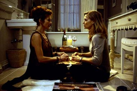 Michelle Pfeiffer and Diana Scarwid in the séance scene in the bathroom.