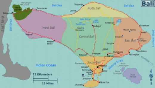 Map of Regions in Bali