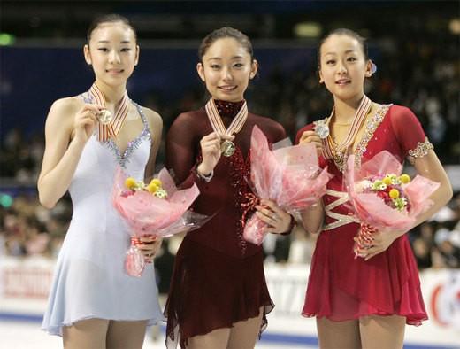 Yuna Kim, Miki Ando, Mao Asada - Japan figure skating champions.