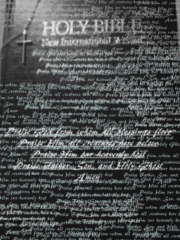 A picture of my bible edited via Picasa a few years ago. I thought it seemed fitting for my poem.
