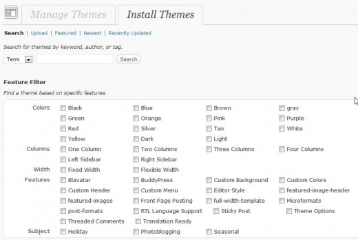 Search and Install Wordpress Themes