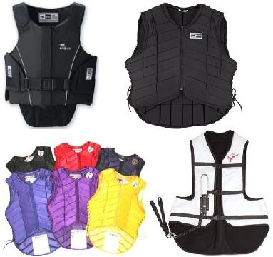Pictured from Left to Right (top to bottom): Intec Flex Rider, Flex Rider Cushioned, Tipperary, Point Two Pro-Air Vest
