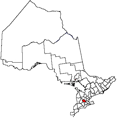 Map location of Waterloo region, Ontario