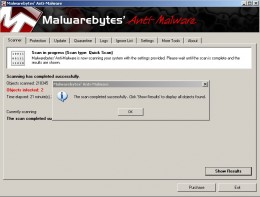 Step 9.  Malwarebytes software completed scan.