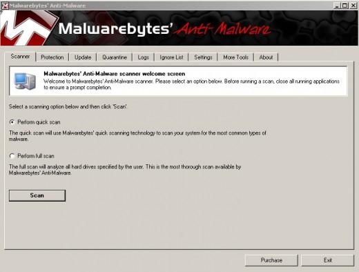 Step 7 Image. Malwarebytes software ready to scan