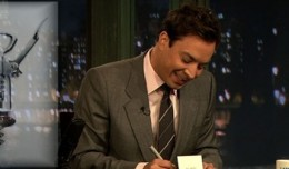 "Jimmy Fallon filling out his ""Thank You Notes""."
