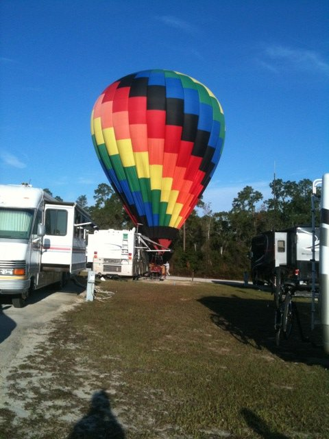 I took this picture on an early morning when we had a Hot Air Balloon visitor to our campground near Orlando Florida.