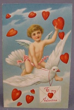 Scan of a Valentine greeting postcard circa 1900 from Wikipedia.