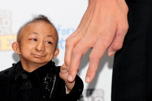 "Tiny He Pingping, who, until his death in 2010, held ""the shortest man in the world"" title."