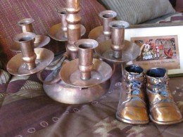 Copper candle holder, made in Bisbee Arizona, copper plated baby shoes, copper post card fron the 1930s
