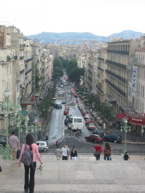 The Great Stairway and Athens Boulevard, Marseille, France, seen from Saint-Charles station
