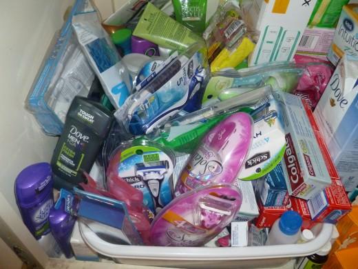 My not so organized stockpile of FREE toiletries.