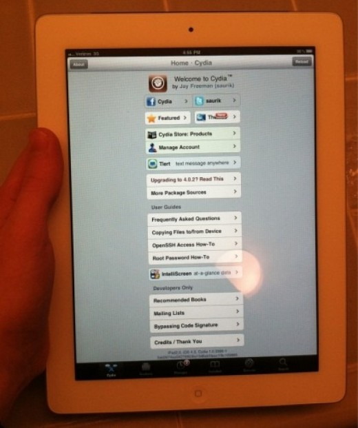iPad 2 shows Cydia Application