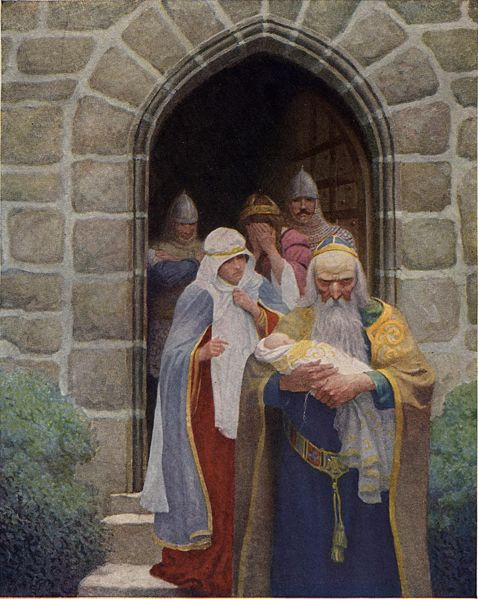 "Illustration from page 4 of The Boy's King Arthur: Merlin taking away the infant Arthur - ""So the child was delivered unto Merlin, and so he bare it forth."""