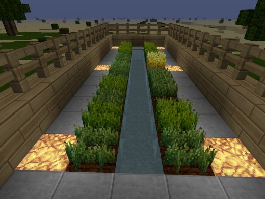 The glowstone powered wheat farm.