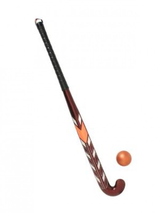 Field hockey, which is still played, was effected using a stick and a ball as shown above. These proved to be ineffectual on the high speed game on ice.