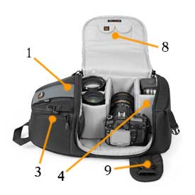 1. Original camera sling bag design Allows quick rotation from back to front to access camera, lenses and accessories without removing bag 2. Increased volume throughout the sling Provides additional space for personal items and accessories in an upp