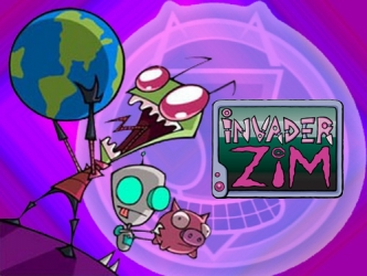 Zim, the often-foiled Irken invader, with moronic, childish robot servant GIR by his side
