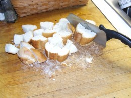 It's so easy to rough cut the hard bread with a capable knife.