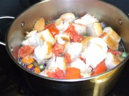 It only takes a few minutes before the bread cooks down, to thicken the soup.