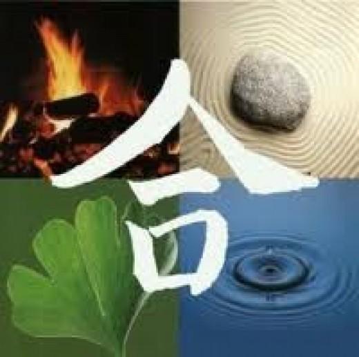 Main elements: wood, water, fire, metal, earth