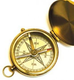 The compass helps to define the directions: North, South, East and West