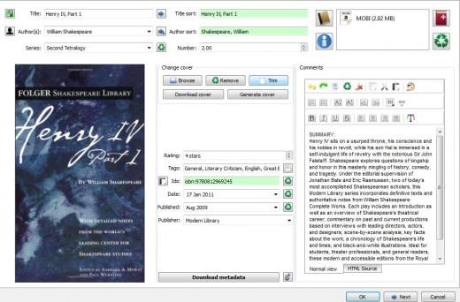 Metadata editing screen