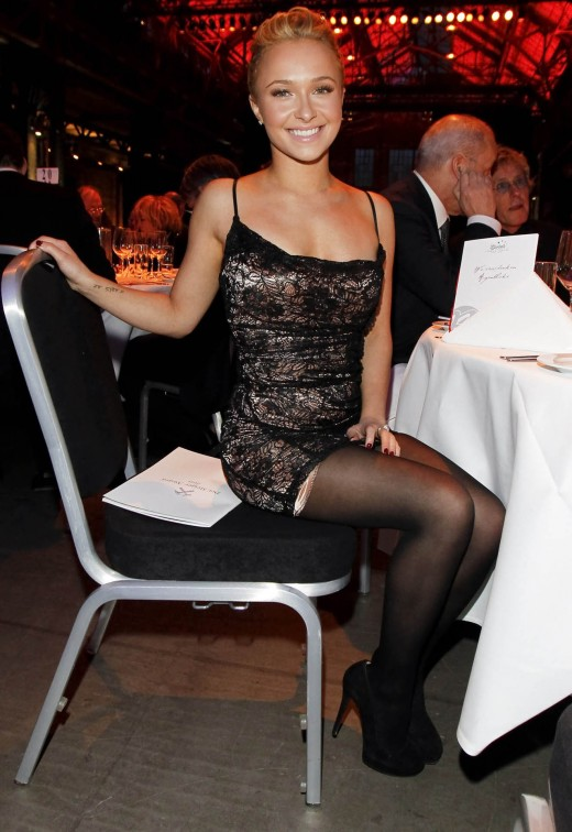 Hayden Panettiere in a short black dress, stockings and high heels