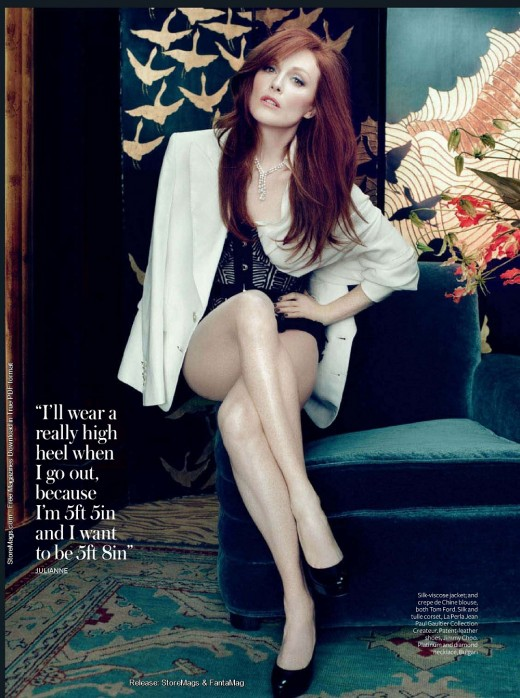 Julianne Moore  crossed legs In Style magazine