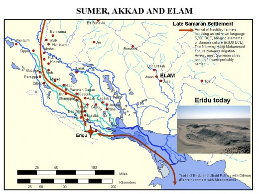 map of where Sumeria was believed to be