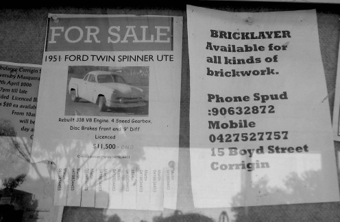 Corrigin noticeboard - buy your own ute.... or get Spud to do some brickwork.