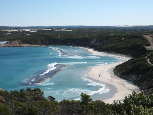 The unusually shaped Esperance Beach