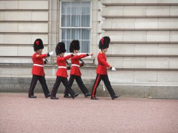 Guards marching in front of the Palace
