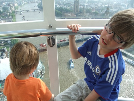 Our children in the pod on the London Eye