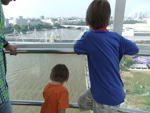 Looking down at the Thames on the London Eye