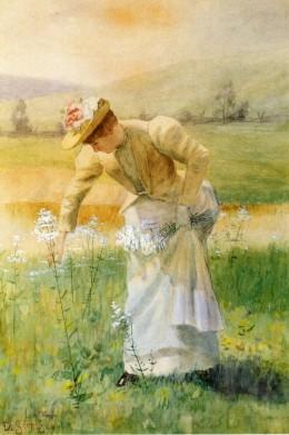 Woman Picking Flowers, by David Scott Evans