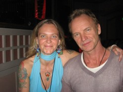"A Photo from Eden's Facebook Profile with the following notation, "" Guess who I met last  Saturday?!?!?! STING!!! I got to give him a 13-Moon Calendar and tell him his Galactic  Signature is White Magnetic Wind and we got to talk briefly about 2012.."