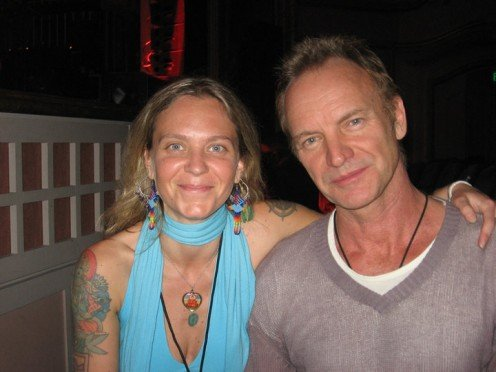 """A Photo from Eden's Facebook Profile with the following notation, """" Guess who I met last  Saturday?!?!?! STING!!! I got to give him a 13-Moon Calendar and tell him his Galactic  Signature is White Magnetic Wind and we got to talk briefly about 2012.."""