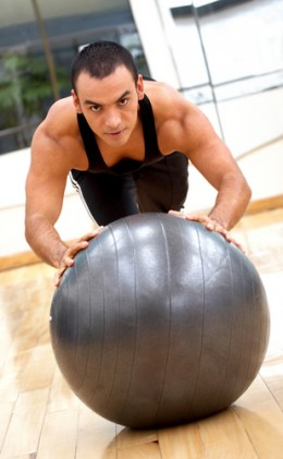 Regular pushup, hands on ball.