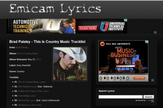 "The lyrics from Brad Paisley's newest album ""This Is Country Music"" was added to Emicam Lyrics tonight."