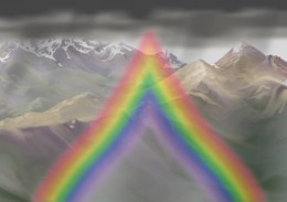 """------ The rainbow, if raindrops were teardrops ------ (Author's """"artist's conception"""")"""
