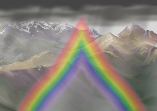 "------ The rainbow, if raindrops were teardrops ------ (Author's ""artist's conception"")"