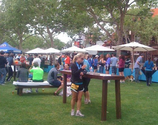 Sipping local wine after the Santa Ynez Wine Country Half Marathon