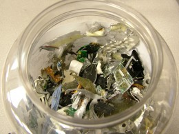 The shredding of a hard disk makes it bits and pieces of small metals and chip board.
