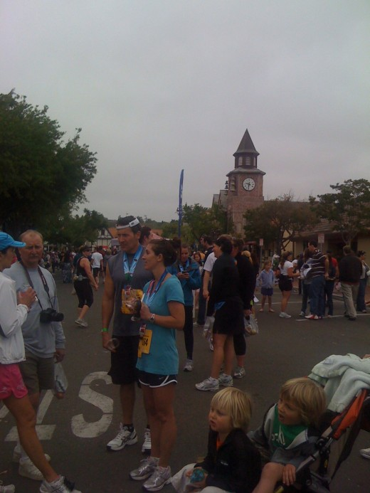 Milling around Solvang after the race