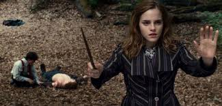 Hermione using protection spell  in The Deathly Hallows-Part 1